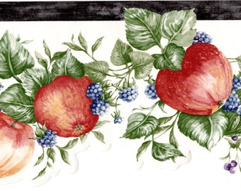 Wallpaper Border French Style Fruit Cherries Apples Pears /& Grapes  Black Tan