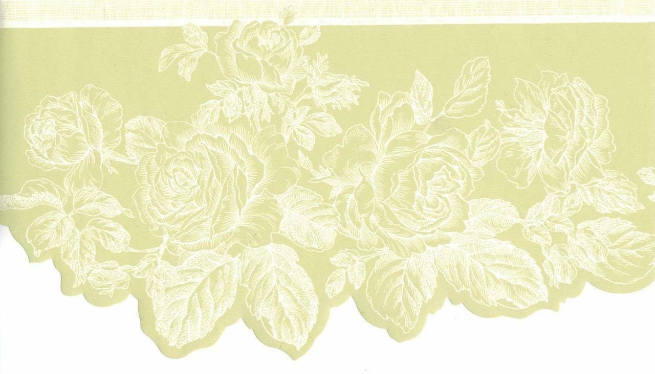Rose Wallpaper Border Scalloped Floral Wallpaper Border Etsy