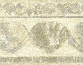 Seashell Textured Wallpaper Border, Sandy Seashell Ocean Coastal Wallpaper Border, Tan Gray Highlight Coastal Themed Bath Wallpaper Border