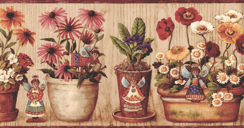 Flower Wallpaper Border Sunflower Angel Daisy Gardening Etsy