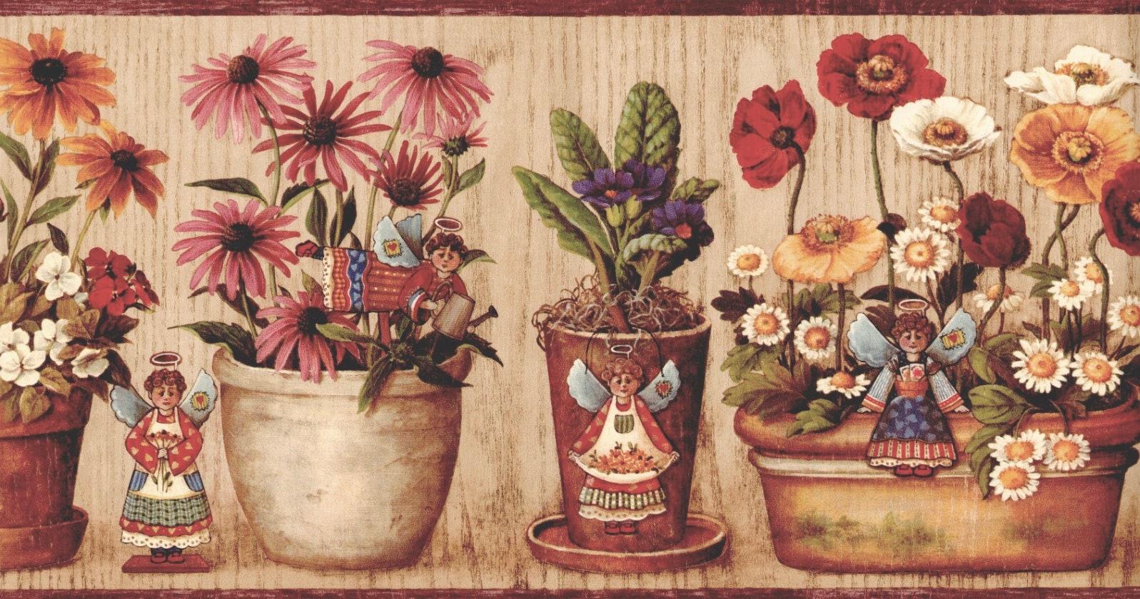 Flower Wallpaper Border Primitive Sunflower Angel Daisy Etsy