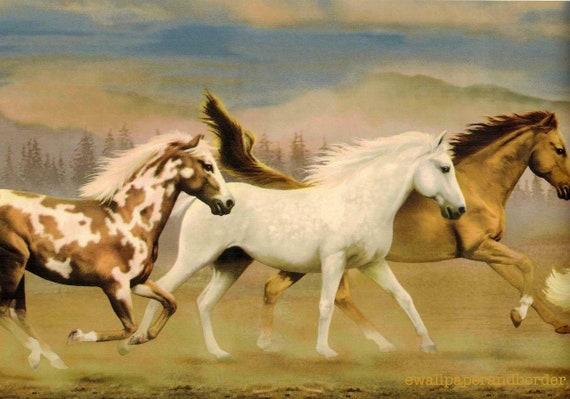 Country Running Wild Horses Wallpaper Border, Country Mountain Running Free Wild Western Horse Wallpaper Border, Stallion Wallpaper Border