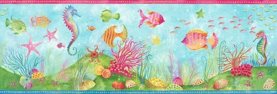 NICE FOR YOUR BATHROOM WALLIES TROPICAL FISH BORDER 15 FEET X 7 INCHES