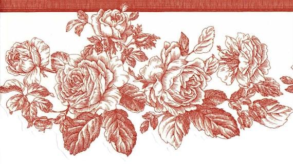 Rose Wallpaper Border, Red Line Drawing Rose Toile, Flower Wallpaper  Border, Bedroom Wall Decor, Bathroom Wall decor, Kitchen Wall Decor