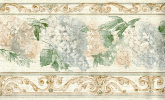 Hanging Floral Wallpaper Borderrustic Wood Panel Scroll Etsy