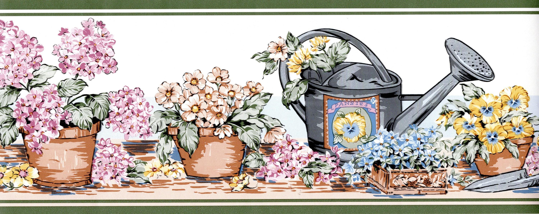 Flower Pots Wallpaper Border Flower Wallpaper Pink Blue Etsy