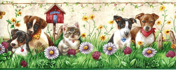 Puppy And Kitten Wallpaper Border Puppy Kitten Pals Beige Wallpaper Dogs Cat Playing In The Garden Wallpaper Border Dog Lover Wall Decor