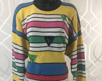Multi Coloured I.B Diffusion Vintage Women's Sweater With Sequin Triangles Size Medium