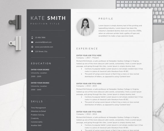 Resume Template One Page Resume Professional Resume Modern Resume Resume Word Cv Template Cover Letter Compact Resume Cv