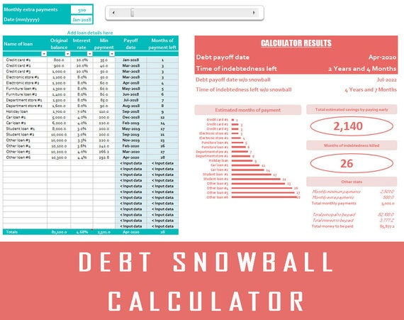 debt snowball debt calculator dave ramsey debt etsy