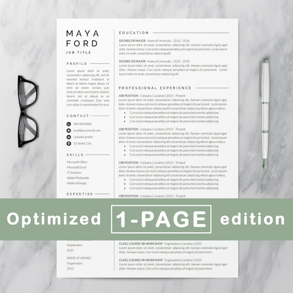resume template one page resume professional resume etsy