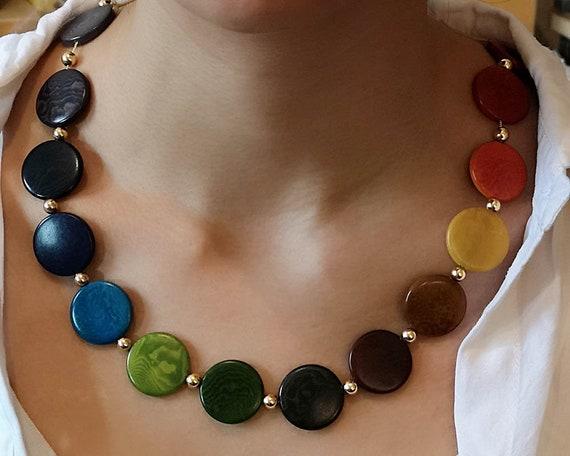 Gold vegetable ivory necklace Solar System Necklace vegetable ivory necklace Gold necklace