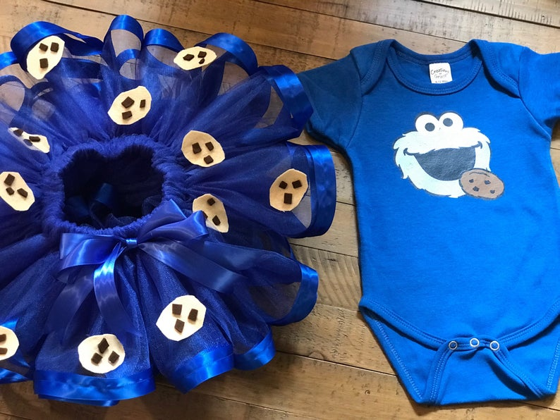 bf268662d Cookie Monster Inspired Tutu and onesie/ Cookie Monster | Etsy