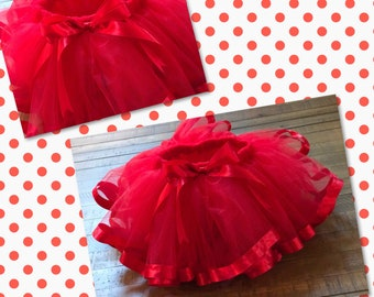 Cherry love tutu/ Red Tulle Tutu/ Red on Red Tutu/ Elmo Tutu