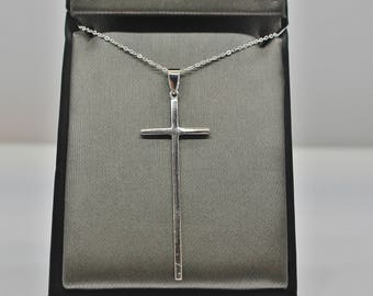 Long cross pendant etsy sterling silver long cross pendant necklace aloadofball Choice Image
