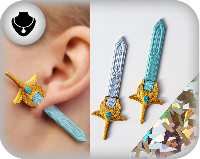She-Ra Sword of Power Earrings  3D Printed image 0