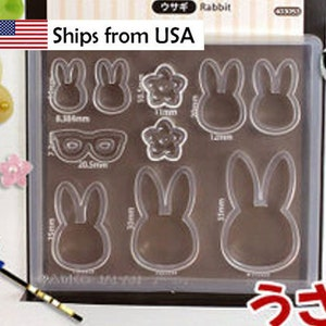 Silicone Bunny Mold Padico Japan for Polymer Clay Assorted Mold Variety Rabbit Mold