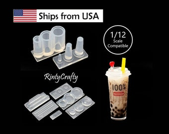 UV Resin Film Deco Seal for Cafe Coffee Bubble Tea CUP  Large Plate  Coffee Iced Drink 1:12 Dollhouse Transparent High Quality Stickers fr