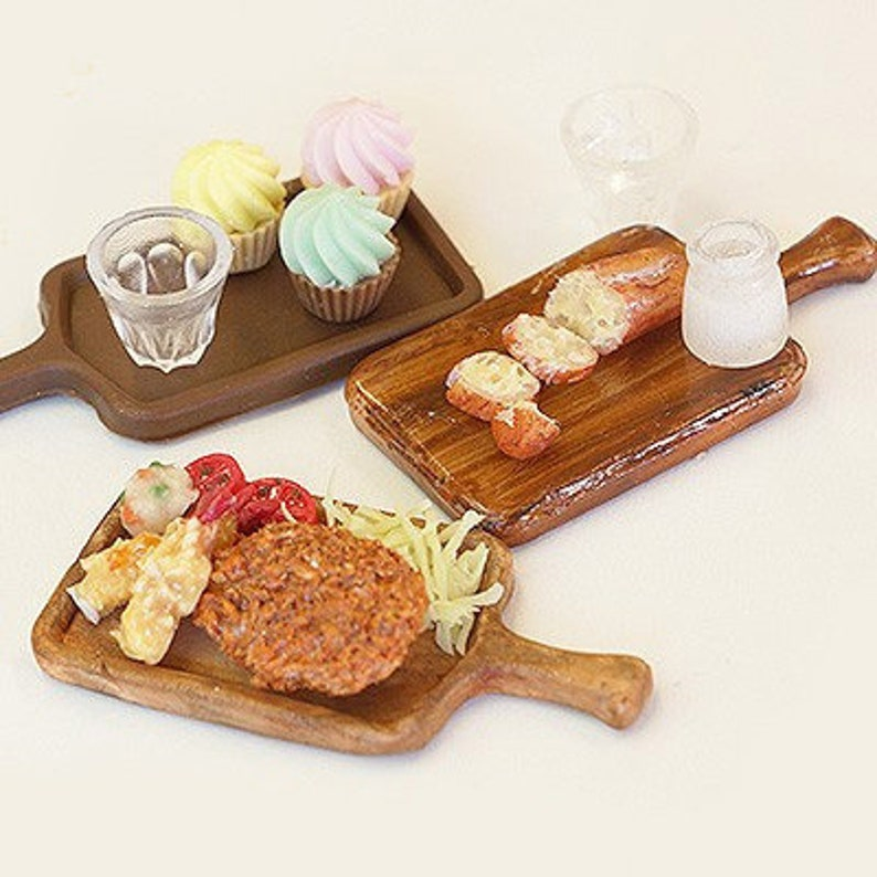 Silicone Mold 3D Wooden Board Tray with Handle Hipster Cafe Food Wood Miniature Dollhouse Japan polymer clay UV resin Air Dry Clay