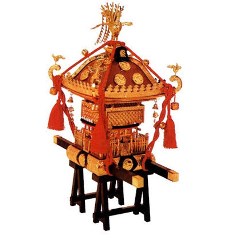 Miniature 15 scale Mikoshi Shrine Red Plastic model Japanese Matsuri Festival Celebration Tradition Culture