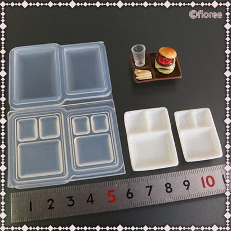 Silicone Mold 3D Bento Mold Japanese Plate Set Lunch Compartment Food Dish Dollhouse Soft Mold High Quality UV Resin Air Dry Clay Floree