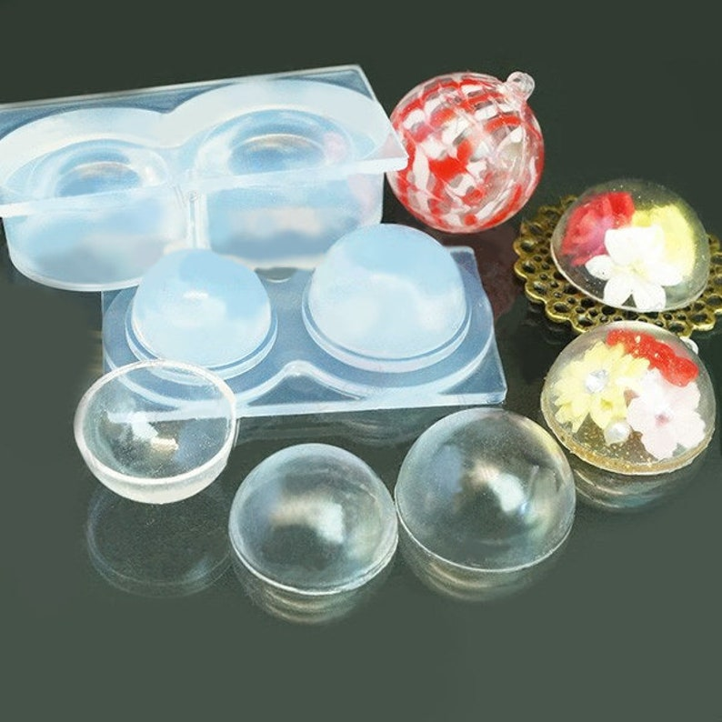 Silicone Mold Hollow Dome (L) Round Transparent Sphere Lovely Parts High  Quality Soft Mold For Clay / Resin / UV Resin/ Soap from Japan