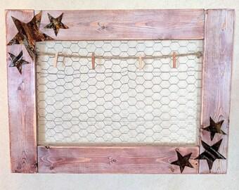 Rustic star chicken wire frame