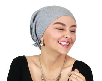 Celeste Cotton Pre Tied Chemo Head Scarf Heather Grey 2a88521f02f