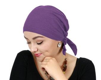 Celeste Cotton Pre Tied Chemo Head Scarf Violet