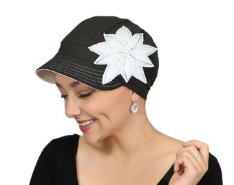 Whimsy Chemo Hat for Women Cancer Headwear Cotton Cute Baseball Hat Black Casablanca