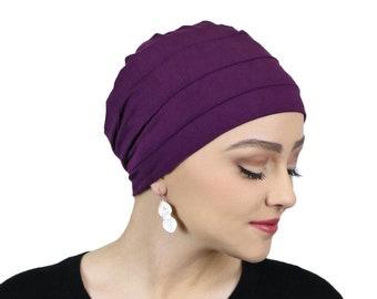 Bamboo 3 Seam Chemo Cap Turban & Sleep Cap For Women Cancer Headwear Plum