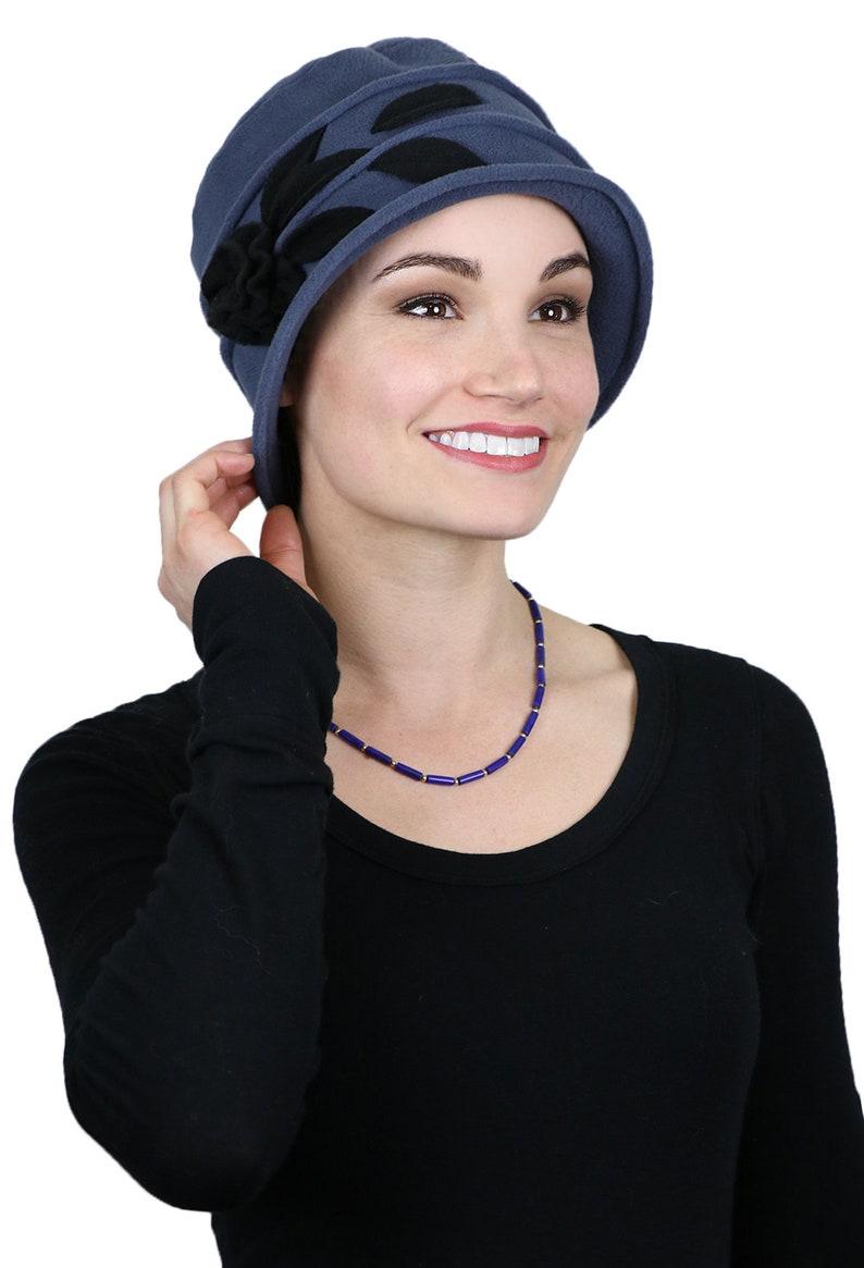 47adb40a739 Lady Rose Fleece Flower Cloche Hat For Women Blue Grey with