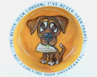 Medium handmade dog bowl HOUSEGUESTS