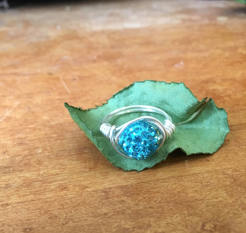 Bulk Party Rings Nickel Free Jewelry Sparkly Blue and Silver Ring Silver Plated Wire Wrapped Ring -Sparkly Bling Rings for Her