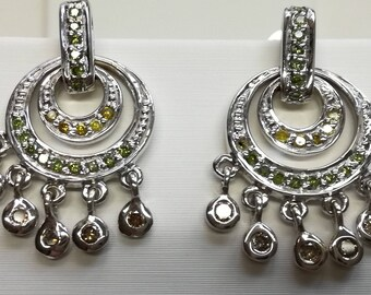 Earrings 585 white gold earrings brilliant diamonds green brown yellow