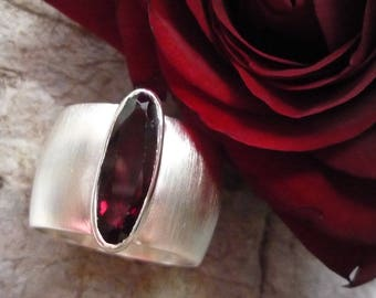 Wide Silver ring garnet ring Silver Ring