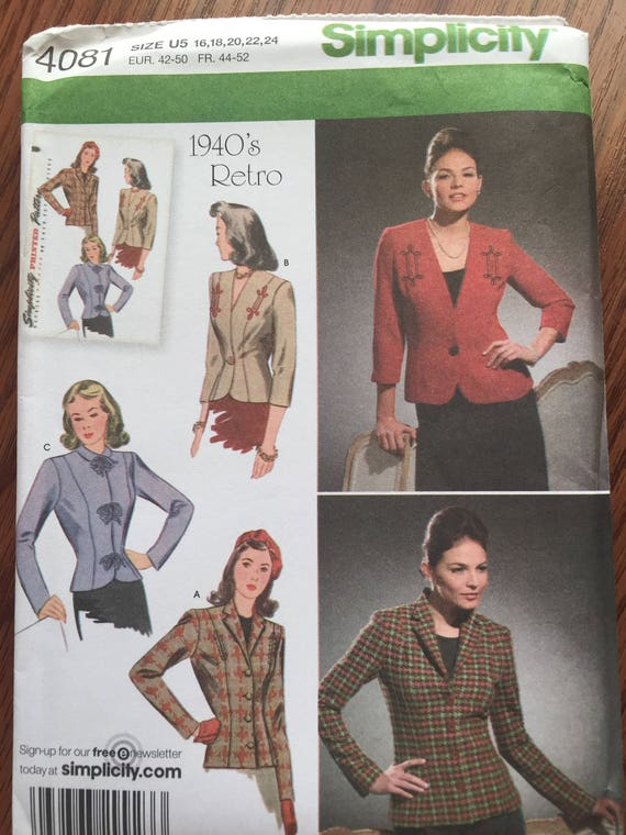 Simplicity 4081 Blazer Collection - Sewing Pattern Easy Sewing Pattern -  Pattern