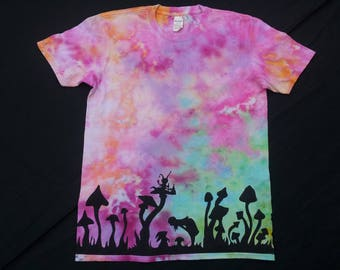 5bc92d6f829b Alice and mushrooms night silhouette ice dye festival hand made unique pink  green orange psychedelic unisex mens size L t-shirt