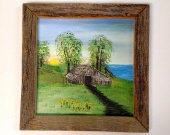 Original Summer Acrylic Painting, Sunflower Painting, Country Painting, One of a Kind Painting, Original Signed Art, Small Painting