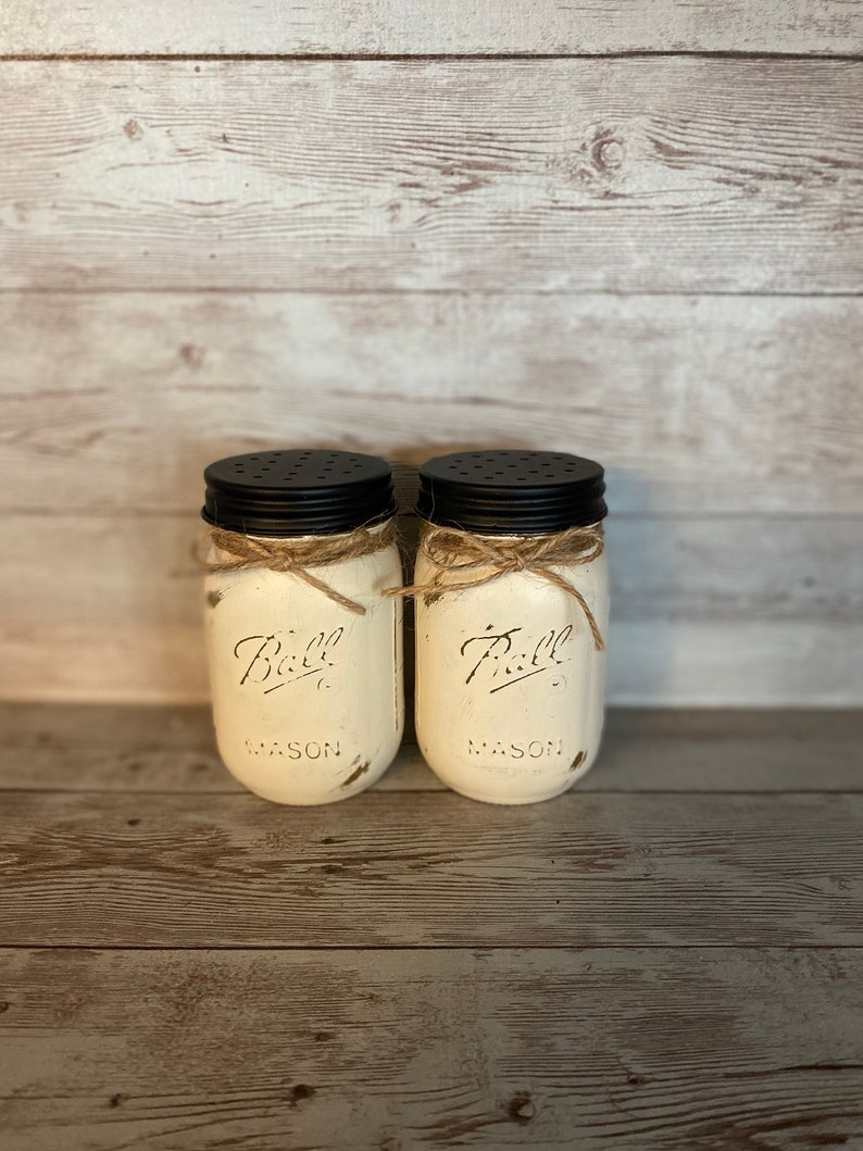 Antique White  Ball Jar Salt and Pepper  Shakers with Jute
