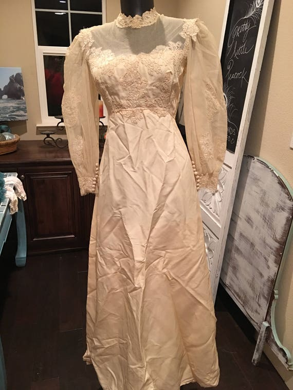 Vintage Wedding Dress Tea Stained Bride Of Frankenstein Etsy