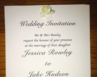 White linen flower wedding invite
