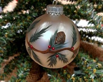 Rustic Christmas Ornament   Pine Cone Xmas Ornament, Hand Painted Ornament, Pine Cone Xmas Decor, Christmas Ornament, Rustic Christmas
