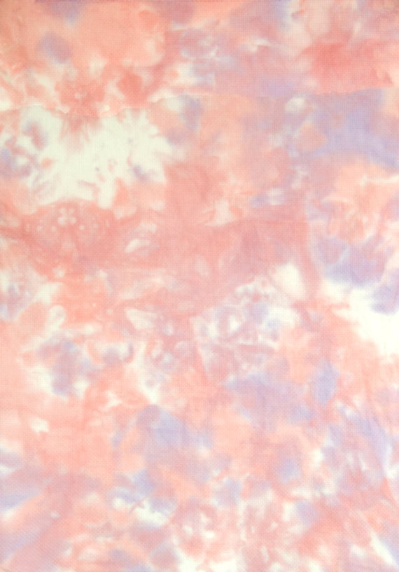 Pink 20 x 14 inches White Purple Hand-Dyed Cross Stitch Fabric DMC Gold Standard 14 count aida Item #311