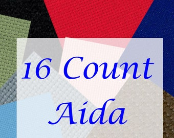 ZWEIGART Cross Stitch Fabric 16 Count AIDA by the Fat Quarter or Fat Half in NINE Delicious Colours! - By the Bolt