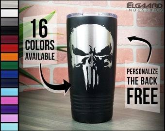 Punisher Skull 20oz Custom Tumbler   Personalized Monogram Cup   Stainless Insulated Laser Engraved   Yeti rambler clone Gift