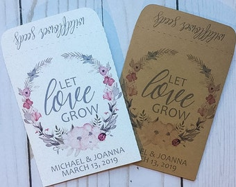 Seed Packets Wedding Favors Gifts Let Love Grow Dogwood flower Wreath Personalized Envelopes - Rustic Kraft, DIY, Bridal Shower, Baby, Seeds