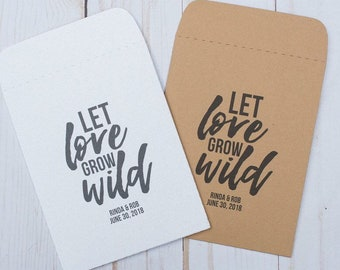 Seed Packets Wedding Favors Gifts Let Love Grow Wild sets of 25 - Rustic, Kraft, Flower, Gifts, Personalized, Custom, Bridal, Shower