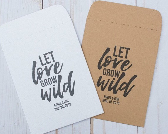 Seed Packets Wedding Favors Gifts Let Love Grow Wild Sets Of Etsy