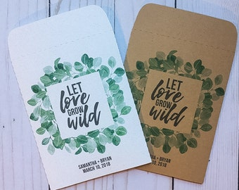 Seed Packets Wedding Favors Gifts Eucalyptus Let Love Grow Wild Personalized Envelopes - Rustic Kraft, DIY, Bridal Shower, Baby, Seeds